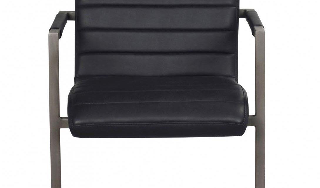Clive spisebordsstol – sort PU læder og gråt stål
