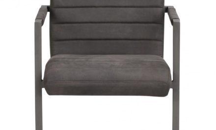 Clive spisebordsstol – mat mørkegråt PU læder og gråt stål