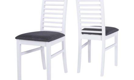 CANETT Gabriel spisebordsstol – hvid træ, grå stof