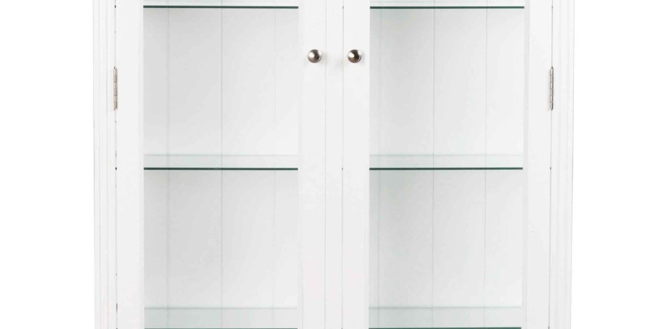 Viktoria vitrineskab – Hvidt træ, 2 låger/4 glashylder/1skuffe