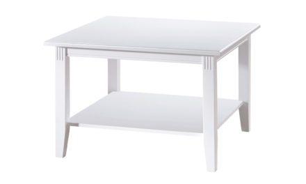 Wittskar sofabord – Hvidt træ, m. 1 hylde, kvadratisk (80×80)