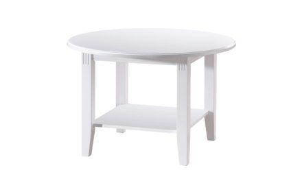 Wittskar sofabord – Hvidt træ, m. 1 hylde, rundt (Ø:80)