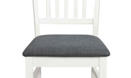 Wittskarr spisebordsstol – Hvidt træ, grå stof hynde