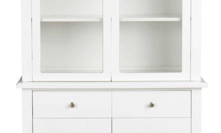Wittskar kabinet – Hvidt træ, 4 låger/2 skuffer
