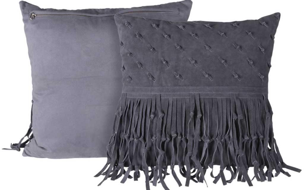 CANETT Rosi pude – mørkegrå ruskind, håndlavet
