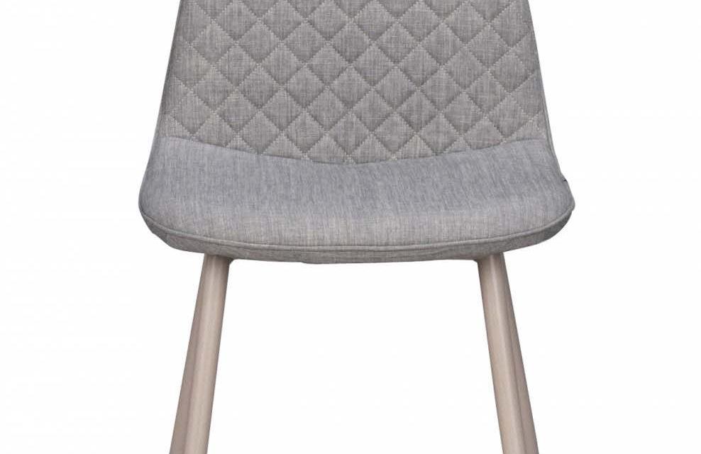 Aston spisebordsstol – gråt stof og hvide metalben