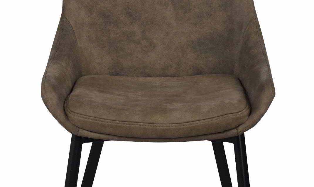 Sierra spisebordsstol – Brunt stof, m. metal stel