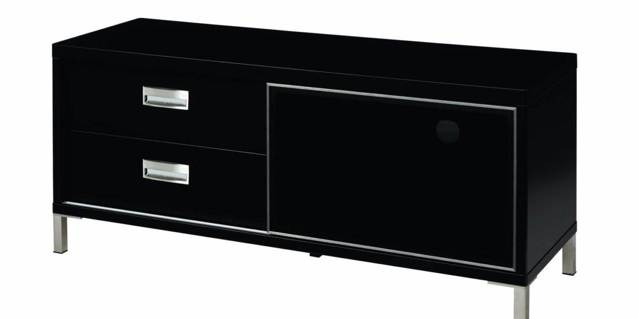 Mercury TV-bænk – sort, m. skydelåge og 2 skuffer