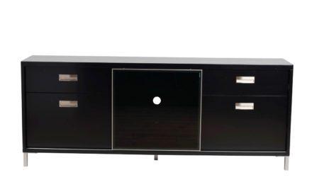 Mercury TV-bænk – sort, m. 1 skydelåge og 4 skuffer