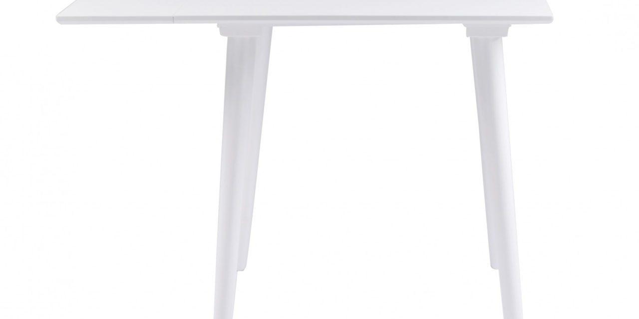 Lotta spisebord – hvid m. klap, kvadratisk (80×80+25)