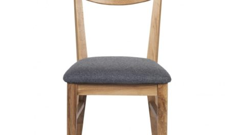 Dylan spisebordsstol – lakeret eg, grå stofhynde