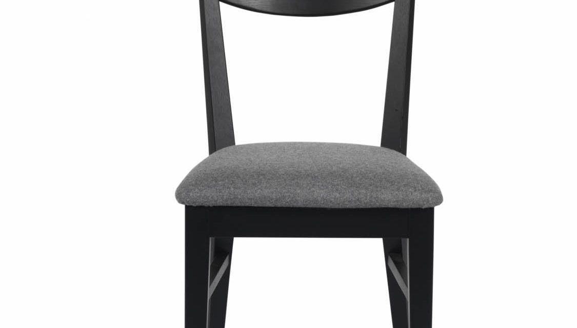 Dylan spisebordsstol – sort eg, grå stofhynde