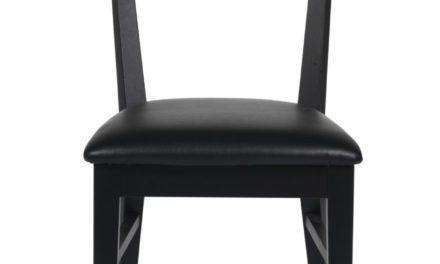 Dylan spisebordsstol – sort eg, sort PU læderhynde