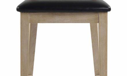 Dylan barstol – hvidpigmenteret eg, sort PU læderhynde