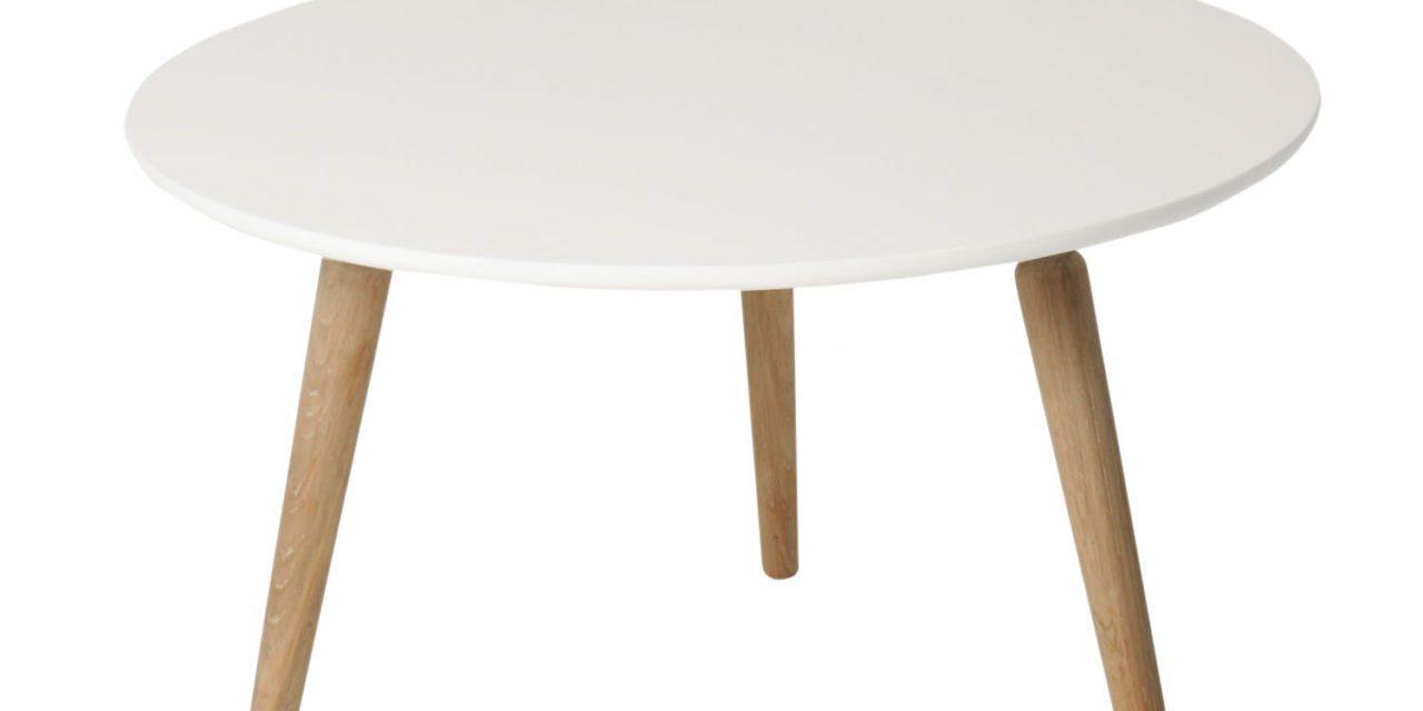 Cappuccino sofabord – hvid/eg, rund (Ø80, H50)