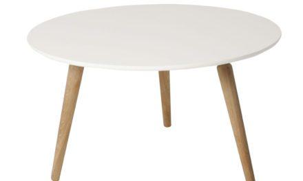 Cappuccino sofabord – hvid/eg, rund (Ø80, H45)