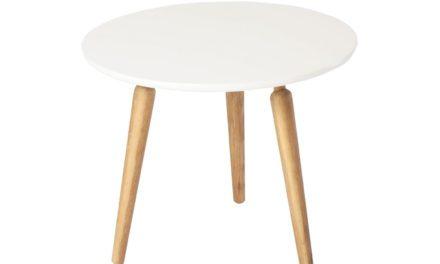 Cappuccino sofabord – hvid/eg, rund (Ø60, H50)