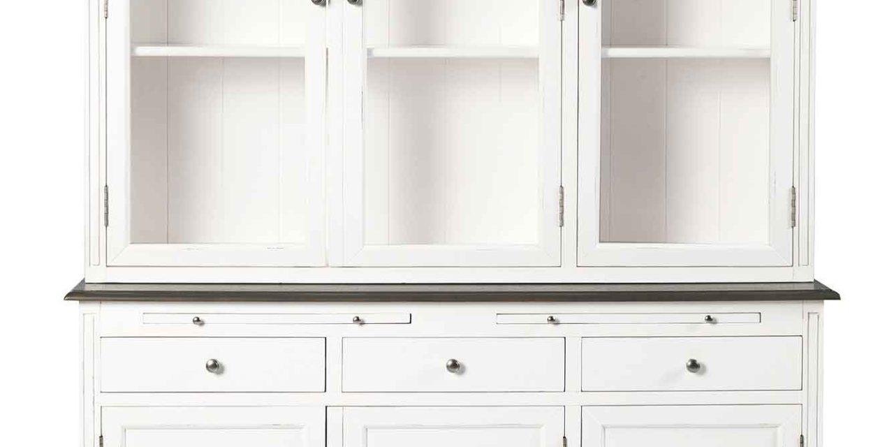 Viktoria vitrineskab – Hvidt træ, 6 låger/3 skuffer 3-D vitrine top white