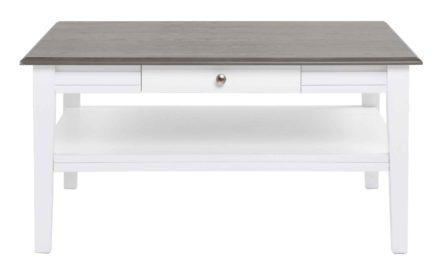 Viktoria sofabord – Hvidt og gråt træ, m. skuffe, 100×100