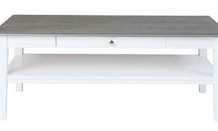 Viktoria sofabord – Hvidt og gråt træ, m. skuffe, 130×70