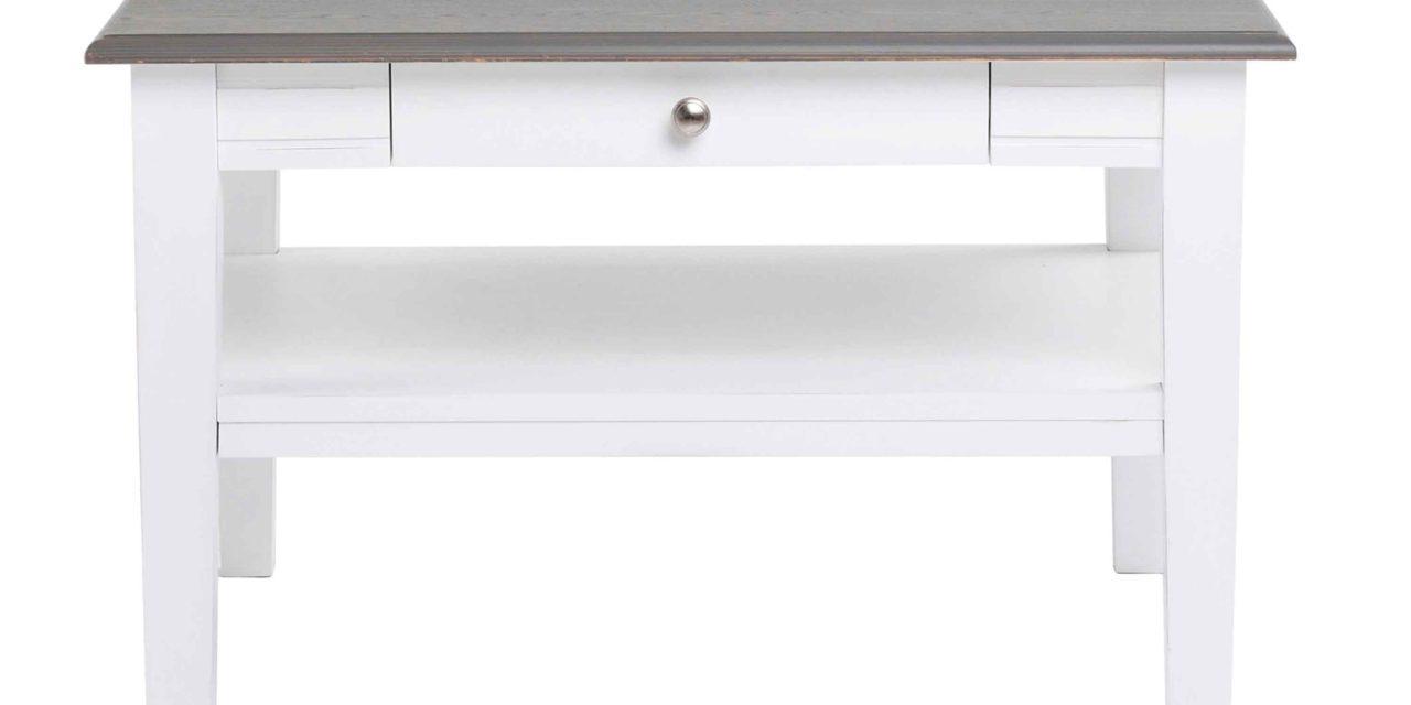 Viktoria sofabord – Hvidt og gråt træ, m. skuffe, 80×80