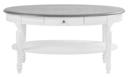 Viktoria sofabord – Hvidt og gråt træ, m. skuffe, ovalt