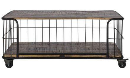 CANETT Monta sofabord – sort metal/massivt mangotræ, m. hjul