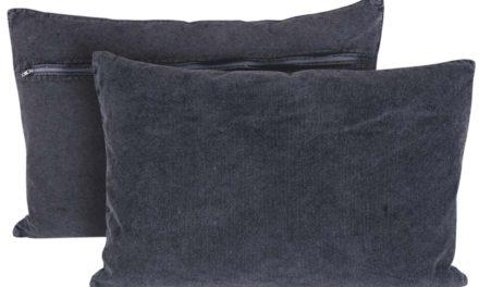 CANETT Chandra pude – grå stof, håndlavet