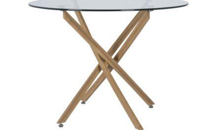 CANETT Luri spisebord – glas/eg, rund (Ø100)