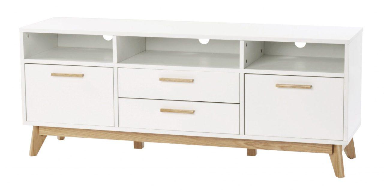 Arild TV-bænk – hvid/lakeret eg, m. 3 rum, 2 skuffer og 2 låger