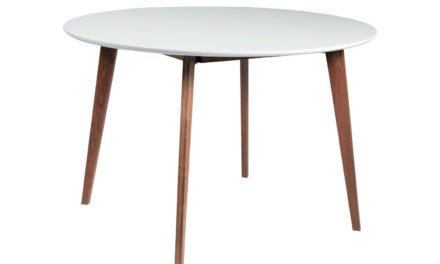Arild spisebord – hvid/lakeret eg, rund (Ø115)
