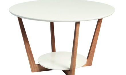 Arild sofabord – hvid/lakeret eg m. 1 hylde (Ø80)