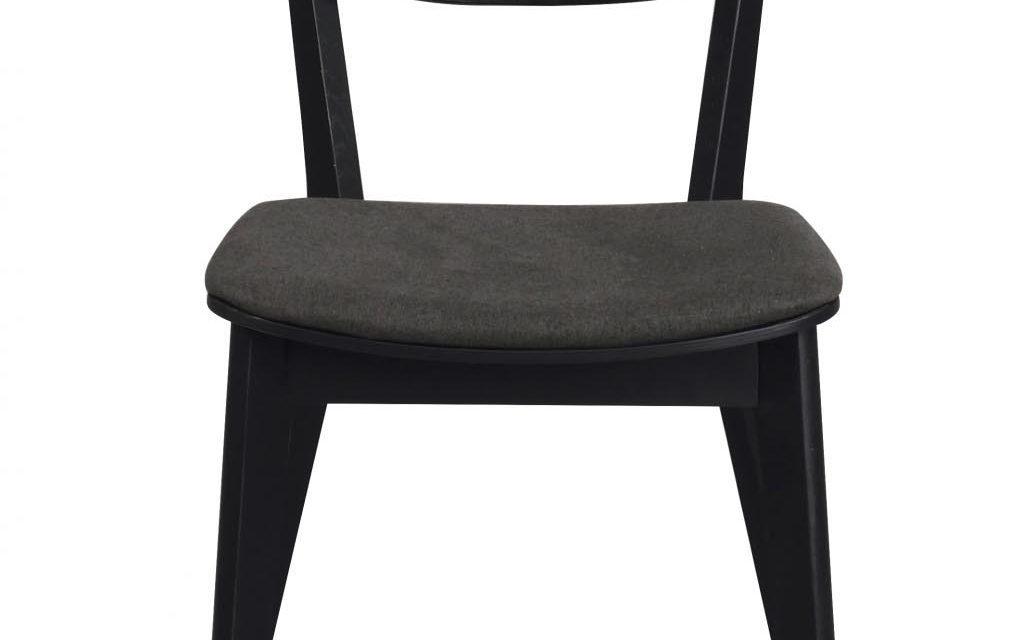 Cato spisebordsstol – sort eg og gråt stof