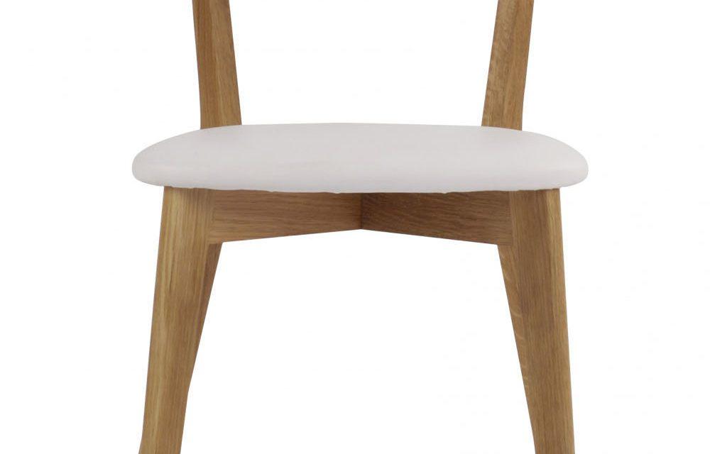 Ami spisebordsstol – lakeret eg og hvidt PU læder