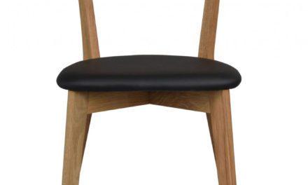Ami spisebordsstol – lakeret eg og sort PU læder