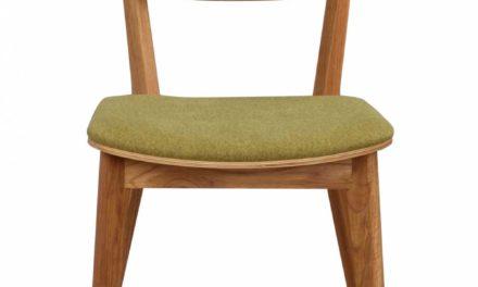Cato spisebordsstol – lakeret eg og limegrønt stof