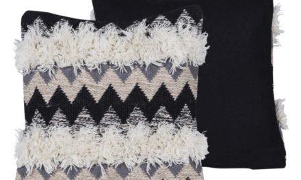 CANETT Yasmin pude – sort/grå/off-white stof