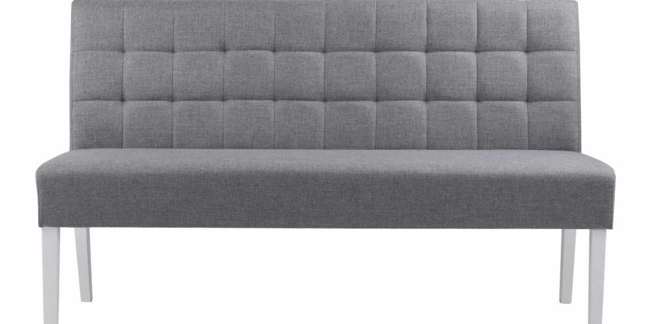 Leila sofabænk – grå stof/hvide ben