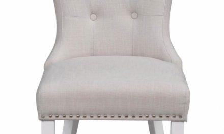Ina spisebordsstol – offwhite stof og hvide ben, m. nitter