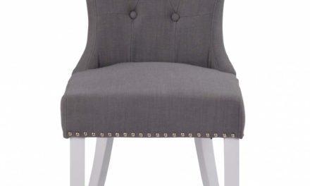 Ina spisebordsstol – grå/hvid m. sølvnitter
