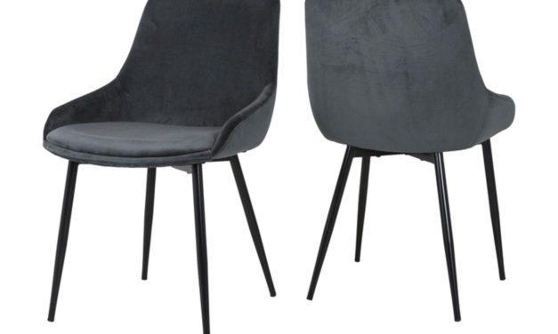 CANETT Merick spisebordsstol – grøn velour/sort metal