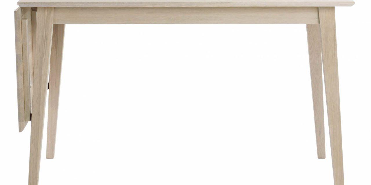 Filippa spisebord – hvidolieret eg m. klap (80×120+45)