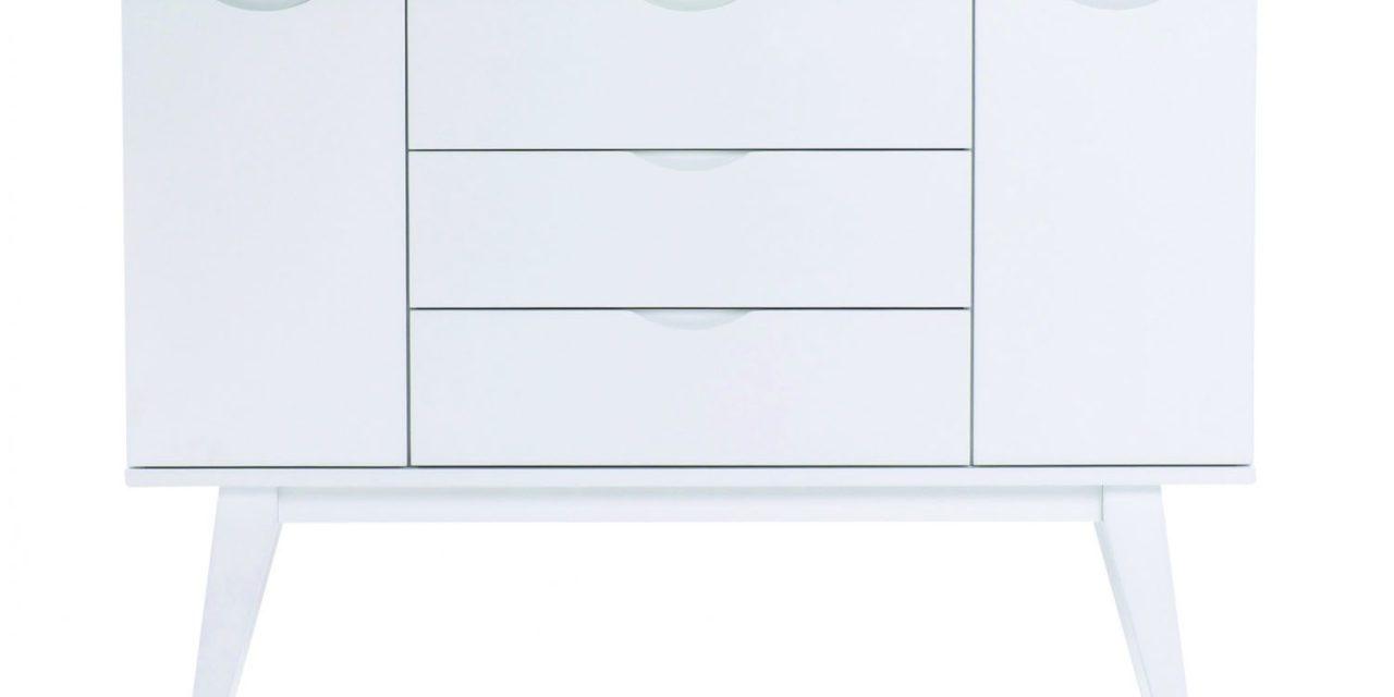 Filippa skænk – hvid/eg, m. 2 låger og 3 skuffer