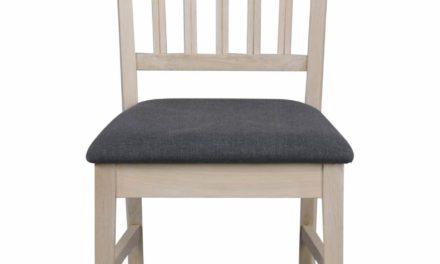 Filippa spisebordsstol – Hvidpigmenteret eg, grå stofhynde