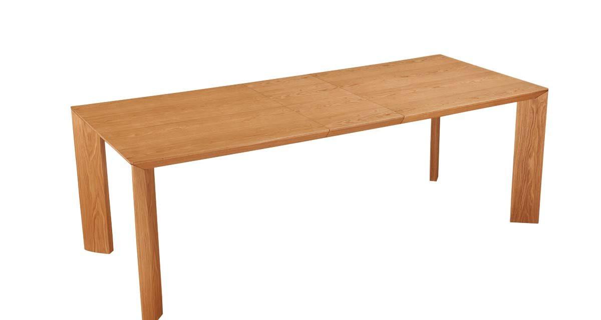 Goa spisebord – natur, m. indbygget tillægsplade