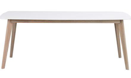 Olivia spisebord – hvid/hvidvasket eg m. udtræk (190×90)