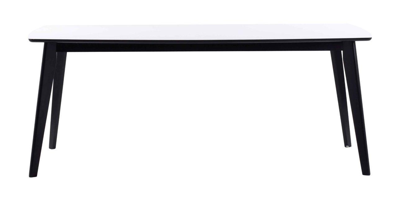 Olivia spisebord – Hvid bordplade, sortlakeret egetræsben, m. udtræk 190×90
