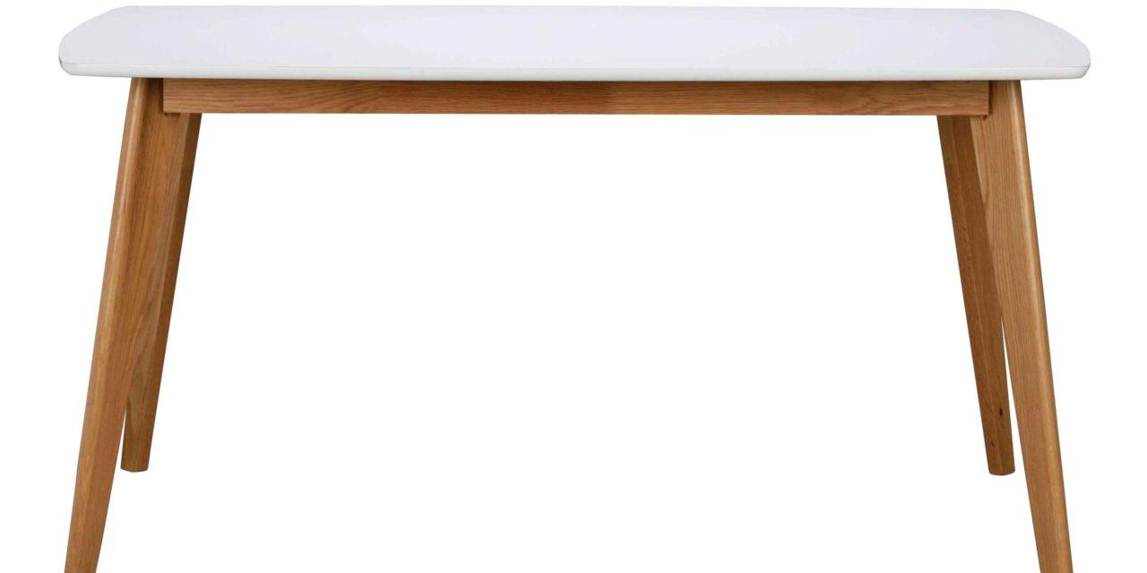 Olivia spisebord – hvid/eg m. udtræk (150×90)