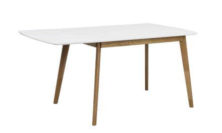 Olivia klapbord – Hvid bordplade lakeret egetræsben, 120+40