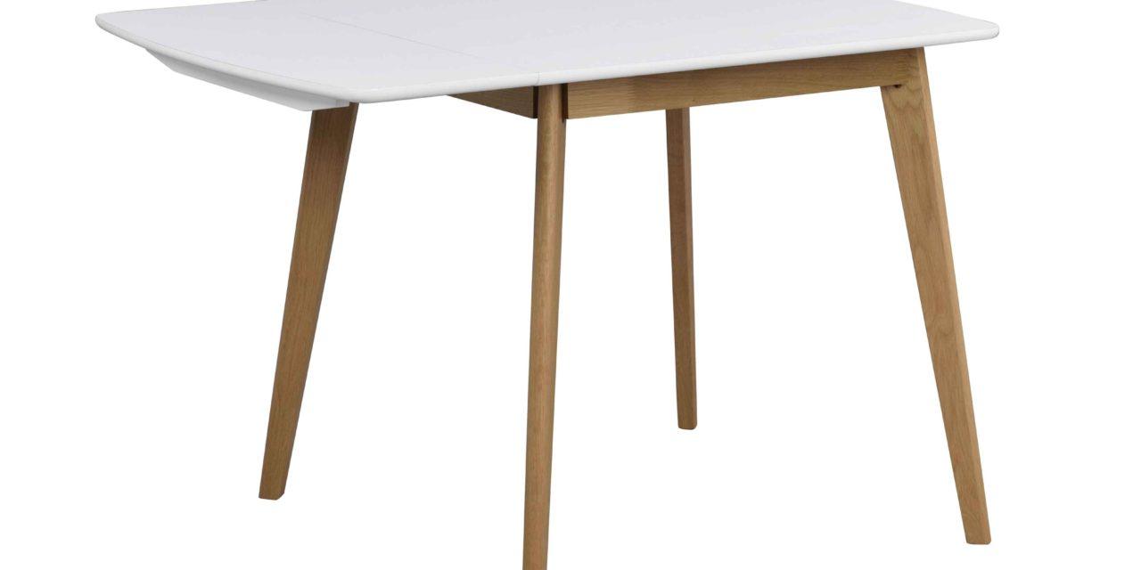 Olivia klapbord – Hvid bordplade, lakeret egetræsben, 80+30